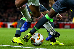 Alex Iwobi of Arsenal is tackled by Abdoulay Diaby of Sporting Lisbon - Mandatory by-line: Robbie Stephenson/JMP - 08/11/2018 - FOOTBALL - Emirates Stadium - London, England - Arsenal v Sporting Lisbon - UEFA Europa League