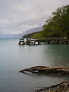 A view of the dock looking down Lake Wakatipu from Kinloch Lodge, Kinloch, Otago, New Zealand
