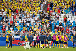 July 7, 2018 - Samara, Russia - 180707 Players of Sweden recognizes the fans after the FIFA World Cup quarter final match between Sweden and England on July 7, 2018 in Samara..Photo: Petter Arvidson / BILDBYRÃ…N / kod PA / 92083 (Credit Image: © Petter Arvidson/Bildbyran via ZUMA Press)