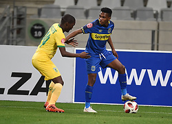 Cape Town-180818 Cape Town City midfielder Gift Links challenged  by Thabo Molefe  of Golden Arrows in a PSL match at Cape Town Stadium .photograph:Phando Jikelo/African News Agency/ANA