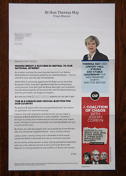 © Licensed to London News Pictures. 20/05/2017. London, UK. A Conservative Party election campaign letter which doesn't mention the Conservative Party once. The letter, which was sent by British Prime Minister Theresa May to a Westminster North constituent, makes little reference to the local candidate, Lindsey Hall, has no picture of the local candidate and no party branding. Photo credit: London News Pictures.