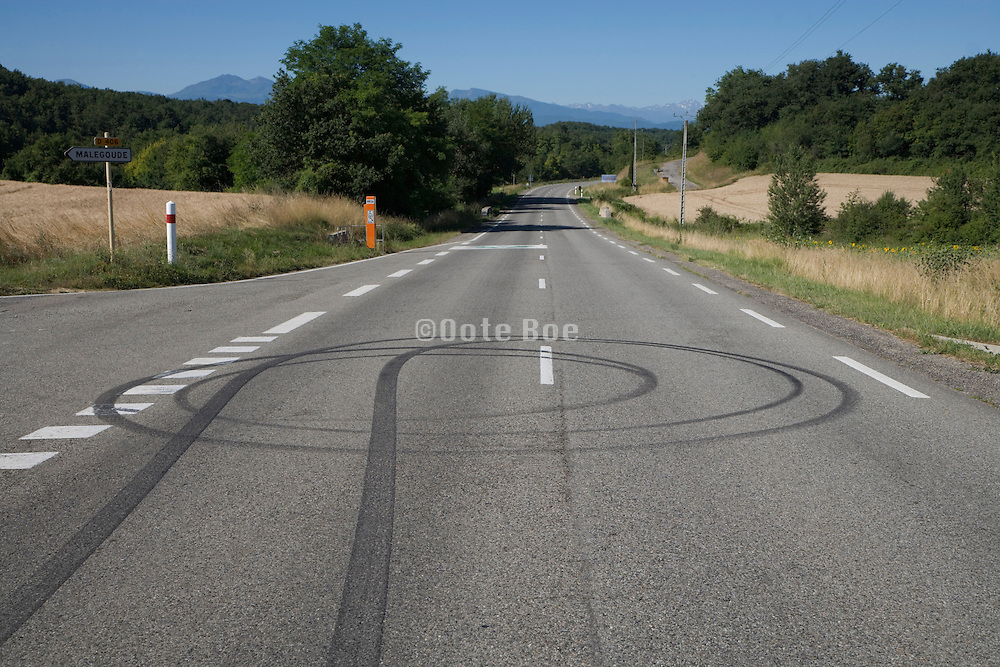 tire skid marks on a public road