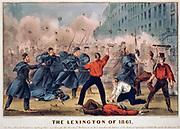 American Civil War 1861-1865.  First Battle of Lexington also called Battle of the Hemp Bales, 13-10 September 1861, Missouri. Currier & Ives hand-coloured print c1861.