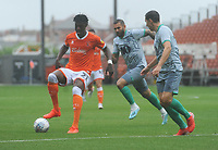 Blackpool's Armand Gnanduillet under pressure from Blackburn Rovers' Stewart Downing<br /> <br /> Photographer Kevin Barnes/CameraSport<br /> <br /> Football Pre-Season Friendly - Blackpool v Blackburn Rovers - Saturday July 27th 2019 - Bloomfield Road - Blackpool<br /> <br /> World Copyright © 2019 CameraSport. All rights reserved. 43 Linden Ave. Countesthorpe. Leicester. England. LE8 5PG - Tel: +44 (0) 116 277 4147 - admin@camerasport.com - www.camerasport.com
