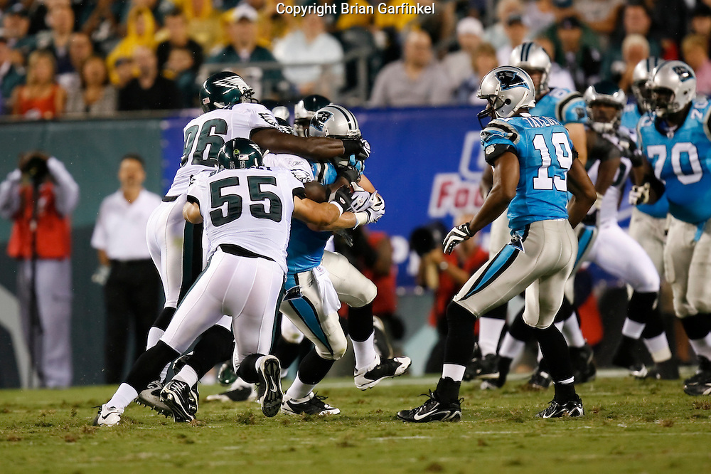 8 August 2008: Carolina Panthers tight end Jeff King #47 is brought down by Eagles defenseman during the game against the Philadelphia Eagles on August 14, 2008. The Eagles beat the Panthers 24 to 13 at Lincoln Financial Field in Phialdelphia, Pennsylvania.