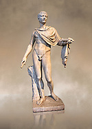 Roman marble sculpture of a male figure restored as Augustus 2nd century AD, inv no 6053, Naples Museum of Archaeology, Italy ..<br /> <br /> If you prefer to buy from our ALAMY STOCK LIBRARY page at https://www.alamy.com/portfolio/paul-williams-funkystock/greco-roman-sculptures.html . Type -    Naples    - into LOWER SEARCH WITHIN GALLERY box - Refine search by adding a subject, place, background colour, museum etc.<br /> <br /> Visit our CLASSICAL WORLD HISTORIC SITES PHOTO COLLECTIONS for more photos to download or buy as wall art prints https://funkystock.photoshelter.com/gallery-collection/The-Romans-Art-Artefacts-Antiquities-Historic-Sites-Pictures-Images/C0000r2uLJJo9_s0c