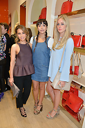 Left to right, RACHEL STEVENS, ROXIE NAFOUSI and DIANA VICKERS at the launch the Folli Follie Flagship store at 493 Oxford Street, London on 28th May 2015.
