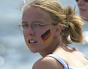 Trakai, LITHUANIA.  German supporter with the German Flag, tattooed on the cheeks. 2002 Junior World Rowing Championships, on Lake Galva Friday  09/08/2002 [Mandatory Credit: Peter Spurrier/ Intersport Images] 200208 Junior World Rowing Championships, Trakai, LITHUANIA