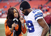 FOX Sports sideline reporter Pam Oliver interviews Dallas Cowboys running back DeMarco Murray (29) after the NFL week 17 regular season football game against the Washington Redskins on Sunday, Dec. 28, 2014 in Landover, Md. The Cowboys won the game 44-17. ©Paul Anthony Spinelli