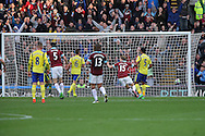 The ball hits the back of the net as Scott Arfield of Burnley (not in picture) scores his teams 2nd and the winning goal. Premier League match, Burnley v Everton at Turf Moor in Burnley , Lancs on Saturday 22nd October 2016.<br /> pic by Chris Stading, Andrew Orchard sports photography.