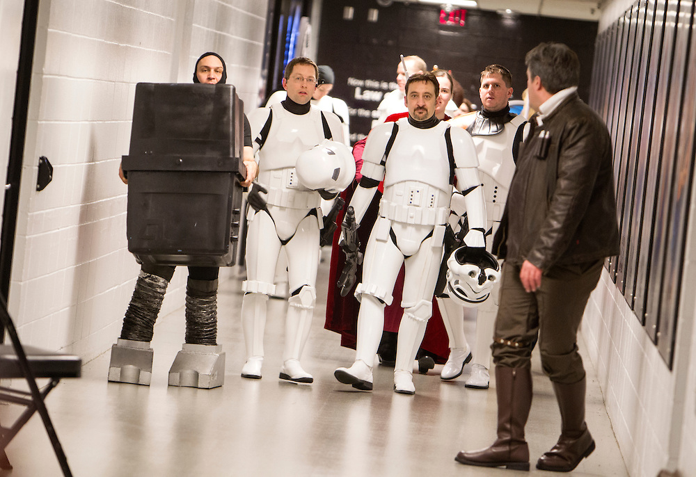Members of the 501st Legion Central Garrison walk down a hallway during Star Wars night at the Timberwolves game at Target Center in Minneapolis December 15, 2015.