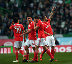 LISBON, Feb. 4, 2019  Haris Seferovic (1st R) of Benfica celebrates after scoring during the Portuguese League soccer match between SL Benfica and Sporting CP in Lisbon, Portugal, Feb. 3, 2019. Benfica won 4-2. (Credit Image: © Xinhua via ZUMA Wire)