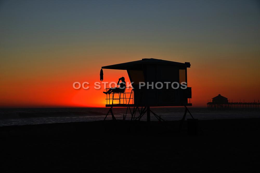 Lifeguard on Duty at Dusk Huntington Beach California