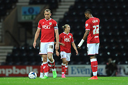 Aaron Wilbraham of Bristol City cuts a dejected figure as he awaits to restart kick of after Neil Kilkenny of Preston North End scores to make it 1-0 - Mandatory byline: Dougie Allward/JMP - 07966386802 - 15/09/2015 - FOOTBALL - Deepdale Stadium -Preston,England - Bristol City v Preston North End - Sky Bet Championship