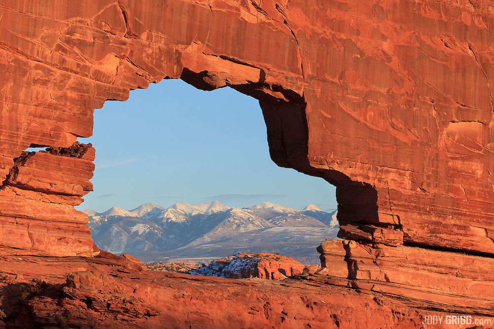 Jeep Arch, also called Gold Bar Arch, is west of Moab, Utah located off Potash Road.