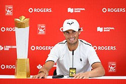 August 12, 2018 - Toronto, ON, U.S. - TORONTO, ON - AUGUST 12: Rafael Nadal (ESP) talks during a press conference after winning the Rogers Cup tennis tournament Final on August 12, 2018, at Aviva Centre in Toronto, ON, Canada. (Photograph by Julian Avram/Icon Sportswire) (Credit Image: © Julian Avram/Icon SMI via ZUMA Press)