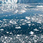 Chunks of the Ilulissat Glacier, the world's fastest glacier, clutter the Illuslissat Icefjord near the town of Ilulissat, Greenland.