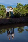 Januaria_MG, Brasil...A fazenda Agroecologica Soma, se intitula uma fazenda produtora de agua. Localiza no municipio de Januaria, a 250 km de Montes Claros, usa a tecnica de Barraginhas ou Bacias de Captacao de Agua de Chuva para recuperar os lencois freaticos e consequentemente os rios da regiao. Em 2005, foram construidas mais de 300 barraginhas na regiao, e acredita-se que o volume de agua dos lencois freaticos cresceu, inclusive com a recuperacao de um rio que corta a propriedade...Na foto, Berilo Prates Maia Filho  e Juliano de Souza Maia, proprietarios da fazenda e responsaveis pela aplicacao da tecnologia na regiao, em uma das barraginhas construidas...The Soma Agroecology farm, is called a farm producing water. Located in the city of Januaria, 250 km from Montes Claros, uses the technique  rainwater catchment to recover the ground water and consequently the rivers of the region. On 2005, they built 300 dam or rainwater catchment in the region, and it is believed that the volume of water of groundwater has grown, including the recovery of a river in the property...In the photo, Juliano de Souza Maia and Maia Beryl Prates Filho, They are the farm owners, They use the technology in the region, next to the dam...Foto: BRUNO MAGALHAES / NITRO