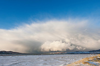 Dramatic clouds of approaching winter snow squall over Luskentyre beach, Isle of Harris, Outer Hebrides, Scotland