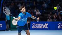 Tennis - 2019 Nitto ATP Finals at The O2 - Day One<br /> <br /> Singles Group Bjorn Borg: Novak Djokovic vs. Matteo Berrettini<br /> <br /> Novak Djokovic (Serbia) stretches to reach the passing shot<br /> <br /> COLORSPORT/DANIEL BEARHAM