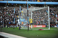 Swansea City's Roland Lamah scores his sides 1st goal to draw the match level at 1-1 during the Barclays Premier league, Aston Villa v Swansea city at Villa Park in Birmingham, England on Saturday 28th Dec 2013. <br /> pic by Jeff Thomas, Andrew Orchard sports photography.
