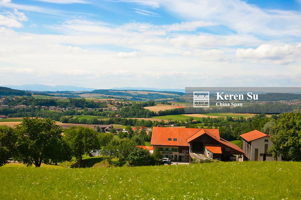 Farmland and small town, near Bern, Switzerland
