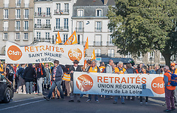 October 4, 2018 - Nantes, France - Pensioners protest in Dhaka, Bangladesh, on October 4, 2018  to defend their purchasing power following the government's decisions to increase the CSG without compensation and to freeze the revaluation of pensions for 2018. (Credit Image: © Estelle Ruiz/NurPhoto/ZUMA Press)