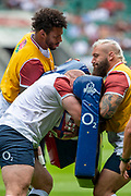 Twickenham, Surrey, World Cup, Sunday, Sunday, 11/08/2019  2019 World Cup, Warm up match, Quilter International, England vs Wales, at the RFU Stadium  [© Peter SPURRIER/Intersport Image]<br /> <br /> 13:34:20,  left, high,Courtney Lawes of England  low, Dan Cole of England  and left, Joe Marler of England