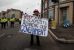 © under license to London News Pictures. 05/02/2011: Thousands of English Defence League members and supporters march through Luton Town Centre to demonstrate against Sharia Law. 2000 police are in the town to keep the peace. Photo credit should read: LNP