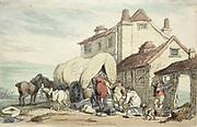 Richardson's Show: A Flying Wagon, 1816. Thomas Rowlandson (British, 1756-1827). Etching, hand colored