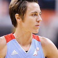 08 August 2014: Atlanta Dream guard Celine Dumerc (9) rests during the Los Angeles Sparks 80-77 overtime win over the Atlanta Dream, at the Staples Center, Los Angeles, California, USA.