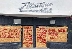 September 2, 2019, Florida, USA: A West Palm Beach restaurant reflects popular sentiments about the approach of Hurricane Dorian on Monday, Sept. 2, 2019. (Credit Image: © The Palm Beach Post via ZUMA Wire)