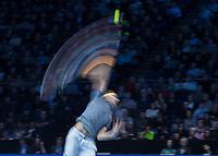 Tennis - 2019 Nitto ATP Finals at The O2 - Day Seven<br /> <br /> Semi Finals: Dominic Thiem (Austria) Vs. Alexander Zverev (Germany)<br /> <br /> Slow shutter of Dominic Thiem (Austria) serving <br /> <br /> COLORSPORT/DANIEL BEARHAM<br /> <br /> COLORSPORT/DANIEL BEARHAM