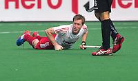 NEW DELHI - Aaanvoerder van Engeland, Barry Middleton, tijdens de derde poulewedstrijd in de finaleronde van de Hockey World League tussen de mannen van Engeland en Nieuw-Zeeland. ANP KOEN SUYK