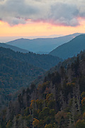 Orange Sky at sunset in Great Smokey Mountains National Park