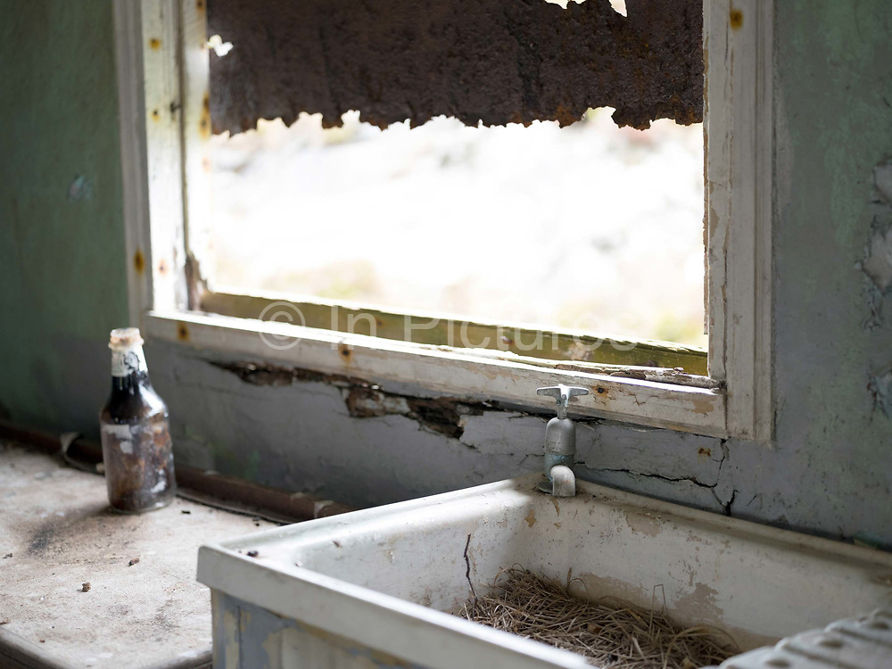 The interior of an abandoned house in Loch Siogport on the Isle of South Uist, Outer Hebrides, Scotland on 23 July 2018