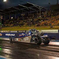 Bailey McClure (8003) launches his Bare Bonz Junior Dragster at the Perth Motorplex.