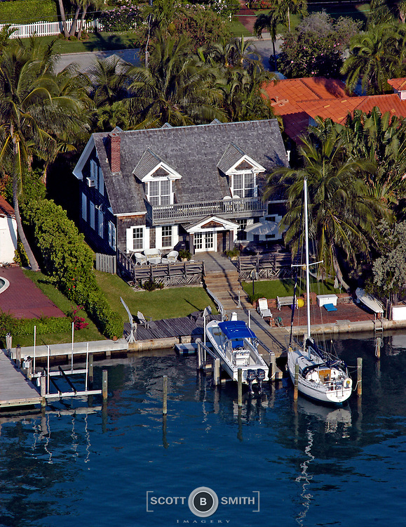 Aerial view of 1920s era Cape Cod style kit home sold by Sears and Robebuck.