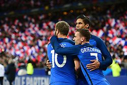 29.03.2016, Stade de France, St. Denis, FRA, Testspiel, Frankreich vs Russland, im Bild gignac andre pierre, varane raphael, griezmann antoine // during the International Friendly Football Match between France and Russia at the Stade de France in St. Denis, France on 2016/03/29. EXPA Pictures © 2016, PhotoCredit: EXPA/ Pressesports/ Jerome Prevost<br /> <br /> *****ATTENTION - for AUT, SLO, CRO, SRB, BIH, MAZ, POL only*****