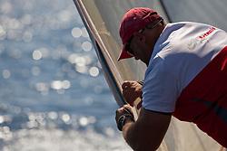 Craig Monk tightening the leach line. Semi-final Artemis (SWE) vs Emirates Team New Zealand (NZL.  La Maddalena, Sardinia, June 4th 2010. Louis Vuitton Trophy  La Maddalena (22 May -6 June 2010) © Sander van der Borch / Artemis