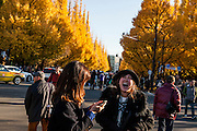 Tokyo, Aoyama ichome - Every automn, people are coming to Ginko tree tunnel to see the golden leaf.