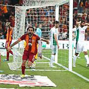 Galatasaray's Selcuk Inan celebrate his goal during their Turkish Super League soccer match Galatasaray between TorkuKonyaspor at the AliSamiYen Spor Kompleksi TT Arena at Seyrantepe in Istanbul Turkey on Friday, 08 May 2015. Photo by Kurtulus YILMAZ/TURKPIX