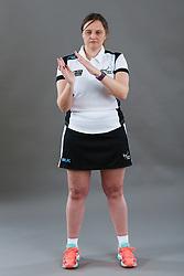 Umpire Rachael Radford signalling incorrect playing the ball