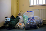 Prisoners possessions,  bagged up and ready to move. Beaufort House, a skill development unit for enhanced prisoners. Part of HMP/YOI Portland, a resettlement prison with a capacity for 530 prisoners.Dorset, United Kingdom.