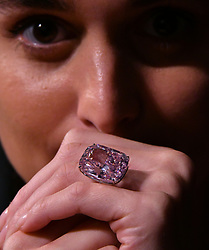 October 13, 2017 - London, London, United Kingdom - Sotheby's unveil The Raj Pink. Sotheby's photo call to unveil The Raj Pink, at 37.30 carats, the world's largest known fancy intense pink diamond, estimated at US$ 20-30 million. This superb and exceptionally rare diamond will feature in Sotheby's Geneva sale of Magnificent and Noble Jewels on 15 November 2017. (Credit Image: © Nils Jorgensen/i-Images via ZUMA Press)