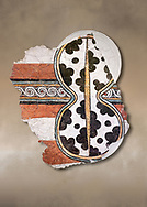 The 'figure of eight shield'  Mycenaean fresco wall painting, Mycenae Acropolis, Greece Cat No 11671. National Archaeological Museum, Athens.<br /> <br /> 12th-14th cent BC.<br /> <br /> The Mycenaean 'figure of eight shield' were originaly made of cows hide and was the symbol of a goddess of war. .<br /> <br /> If you prefer to buy from our ALAMY PHOTO LIBRARY  Collection visit : https://www.alamy.com/portfolio/paul-williams-funkystock/mycenaean-art-artefacts.html . Type -   Athens    - into the LOWER SEARCH WITHIN GALLERY box. Refine search by adding background colour, place, museum etc<br /> <br /> Visit our MYCENAEN ART PHOTO COLLECTIONS for more photos to download  as wall art prints https://funkystock.photoshelter.com/gallery-collection/Pictures-Images-of-Ancient-Mycenaean-Art-Artefacts-Archaeology-Sites/C0000xRC5WLQcbhQ