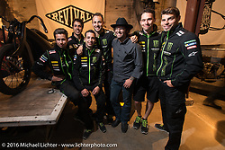 Andy James Dio with the French Yamaha Moto GP tech team at the Friday night grand opening of the Handbuilt Motorcycle Show. Austin, TX, USA. April 8, 2016.  Photography ©2016 Michael Lichter.