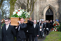 Leicester City goalkeeper Kasper Schmeichel (left) and Burnley goalkeeper Joe Hart carry the coffin during the funeral service for Gordon Banks at Stoke Minster.