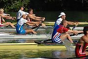 Lucerne, SWITZERLAND, FRA LM2-, Bow FRA LM2-. 2007 FISA World Cup, Lucerne, on the Rotsee Lake, 13/07/2007  [Mandatory Credit Peter Spurrier/ Intersport Images] , Rowing Course, Lake Rottsee, Lucerne, SWITZERLAND.