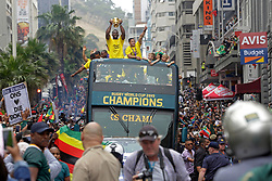 Monday 11th November 2019.<br /> City Hall, Grand Parade,<br /> And City Centre, Cape Town,<br /> Western Cape,<br /> South Africa.<br /> <br /> SPRINGBOKS CELEBRATE WINNING THE RUGBY WORLD CUP CHAMPIONSHIP IN 2019 WITH A COUNTRYWIDE VICTORY TOUR!<br /> <br /> SPRINGBOKS RUGBY WORLD CUP VICTORY TOUR CAPE TOWN!<br /> <br /> South African Captain Siya Kolisi holds the Web Ellis Cup as he celebrates with his team mates and excited fans taking photos and selfies while they celebrate the Springboks driving past in their open top bus in the Cape Town City Centre.<br /> <br /> The reigning Rugby World Cup Champions namely the South African Springbok Rugby Team, celebrates winning the Webb Ellis Cup during the International Rugby Football Board Rugby World Cup Championship held in Japan in 2019 with their Victory Tour that culminated in the final city tour taking place in Cape Town. Thousands of South African fans filled the streets of the city all trying their best to show their support for their beloved Springboks and to celebrate them winning the Rugby World Cup for the third time. South Africa previously won the Rugby World Cup in 1995, 2007 and now again in 2019. South African Springbok Captan Siya Kolisi took the opportunity to speak to the gathered crowd about how something like this brings unity and that we should live together as a nation that practices what is known as ubuntu. Ubuntu is a quality that includes the essential human virtues of compassion and humanity. This image taken in Cape Town on Monday 11th November 2019.<br /> <br /> This image is the property of Seven Bang Media Group (Pty) Ltd, hereinafter referred to as SBM.<br /> <br /> Picture By: SBM / Mark Wessels. (11/11/2019).<br /> +27 (0)61 547 2729<br /> mark@sevenbang.com<br /> www.sevnbang.com<br /> <br /> Copyright © SBM. All Rights Reserved.